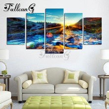 FULLCANG 5 piece diy diamond painting sunset glow scenery full square/round drill 5d mosaic embroidery picture home decor FC833