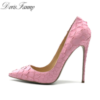 DorisFanny wedding shoes bride 2018 very sexy womens black high heel shoes pointed toe pink red party 12cm stiletto heels