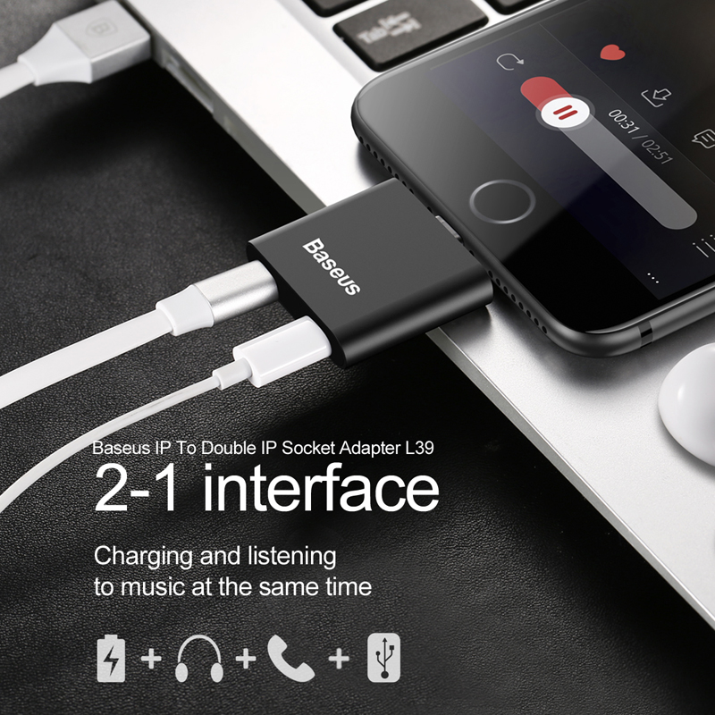 Baseus L39 2 in 1 Interface Audio & Charger Socket Adapter For iPhone 7 7 Plus 6 6S iPad Mini Music Calling / Charging Adapter