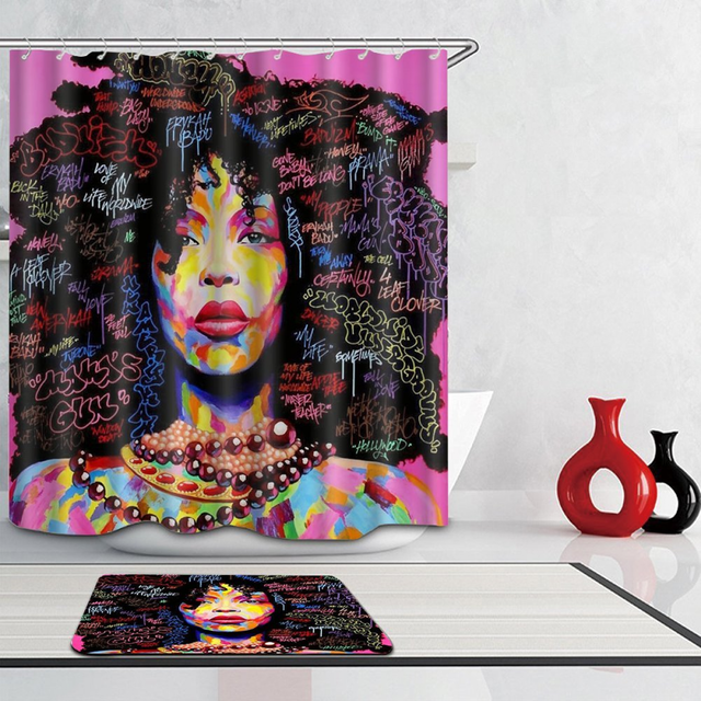 Graffiti African Women Black Hair Afro Shower Curtain Set Polyester Fabric Waterproof Home Doormat Bathroom Decor Curtains Mat