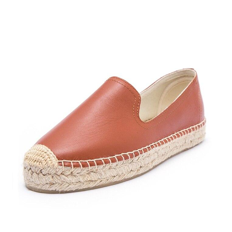 Платформа пояса из натуральной кожи эспадрильи для женщин 2019 Весна женщин на платформе комнатные туфли, закрыть Мокасины с закрытым носком