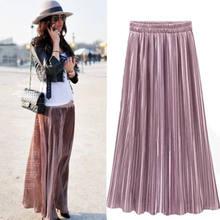 8d6ddbaf31 Fashion New Ladies Womens Casual Long Midi Pleated Skirt Elastic Waist  Double Layer Chiffon Long Skirts