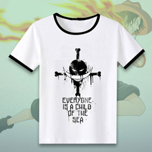 T-shirt One Piece T shirt Anime Luffy Roronoa Zoro Ace Cosplay Ink painting Tops Men Short Sleeve Tees