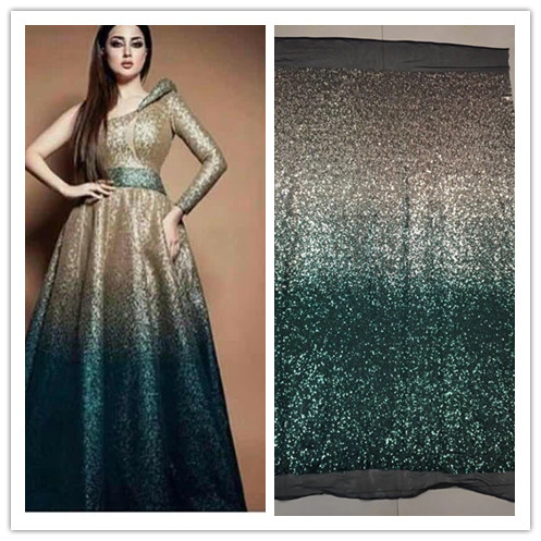 New 5 Yard Embroidery Sequin Fabric For Wedding JIANXI C 8915 High Quality African French Sequin