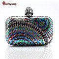 New Women Diamond Skull Clutch Fashion Colored Sequined Evening Bag Hard Case Banquet Party Handbag Crossbody Chain Shoulder Bag