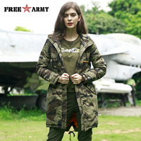 FREEARMY Military Camo Ladies Winter Jacket Coat Medium Long Coats Hooded Thicken Warm Zipper Women's Parka Female Large Size