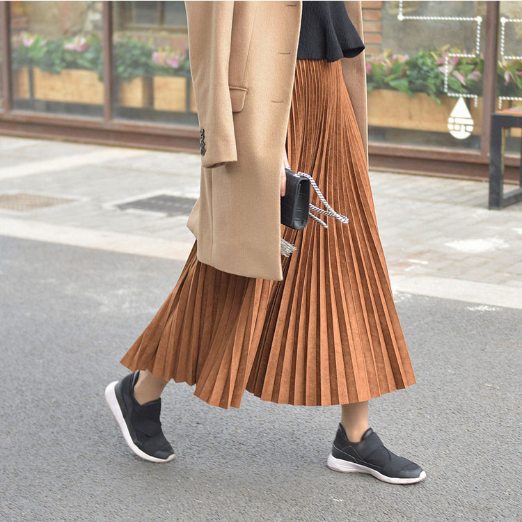19 Two Layer Autumn Winter Women Suede Skirt Long Pleated Skirts Womens Saias Midi Faldas Vintage Women Midi Skirt 55