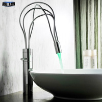 LED Light Twining Pipe Design Bathroom Faucet Deck Mount Single Handle Fashion Basin Water Mixer Tap Solid Brass Short & Tall