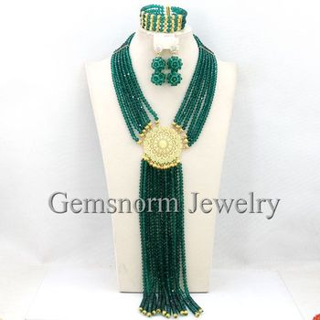 Trendy Teal Green Nigerian African Beads Jewelry Set 2017 Latest Dubai Jewelry Sets  New Free Shipping WB221