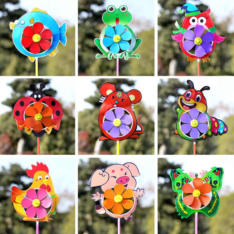 Новый мультфильм ветряная мельница с животными ветер Спиннер Вертушка для дома, сада, двора Декор детские игрушки