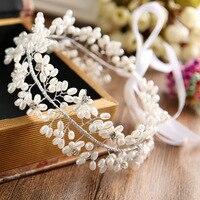 Kobiety Bridal Drużki Imitacją Perły Kryształ Kwiat Pałąk Ręcznie Biżuteria Chluba Włosów Akcesoria Ślubne Welon