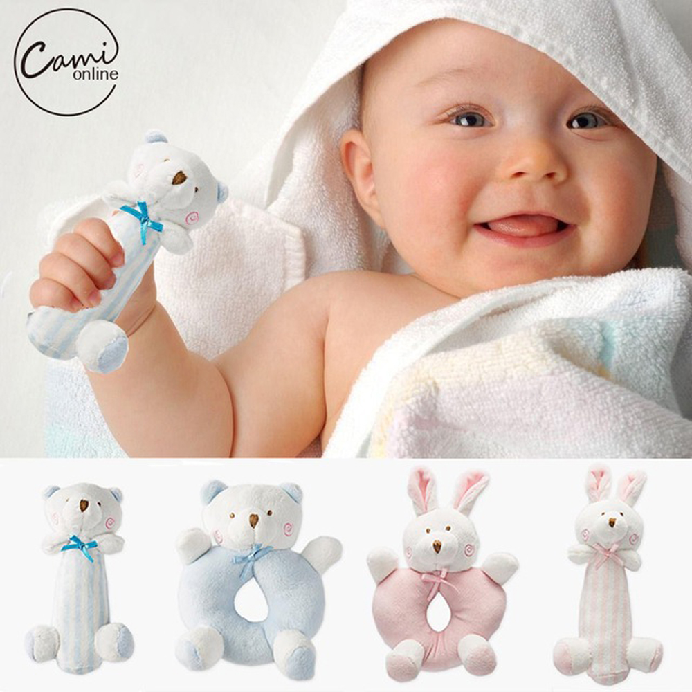 все цены на Baby Cartoon Rabbit Bear Plush Rattle Ring Bell Newborn Hand Grasp Toys Soft Mobile Infant Crib Dolls peluche hochet brinquedos