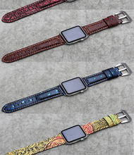Durable Watch Accessories Watches Strap 38mm42mm for Apple wristwatch Italian leather crocodile pattern classic pin buckle strap