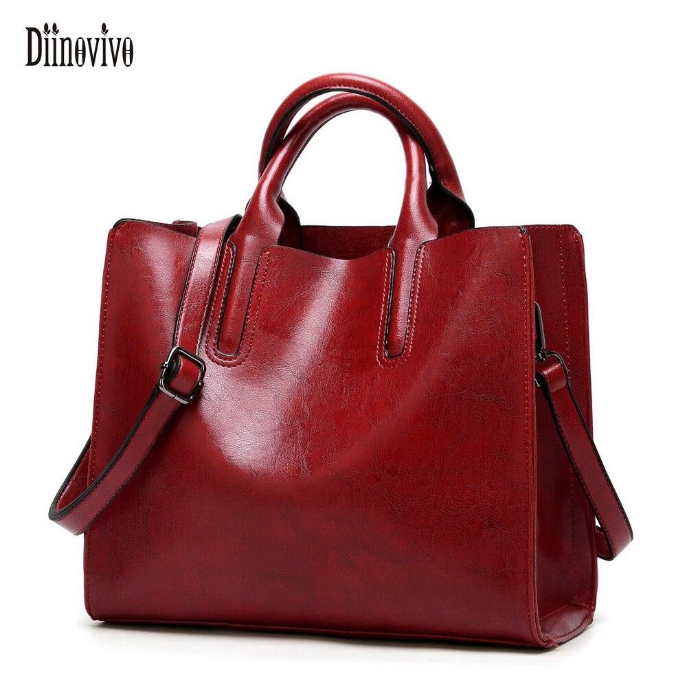 DIINOVIVO bolso de cuero de las mujeres de marcas famosas bolso Casual bolso de mujer tronco bolso Bolso grande mensajero bolsa WHDV0012