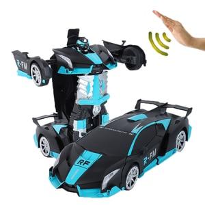 Image 2 - 新しいおもちゃ 2019 1/12 ラジオコントロール車光と音楽つや消しスタイルジェスチャーセンサー rc カー変換ロボット車