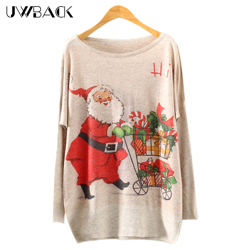 Uwback Christmas Xmas Sweater Women 2017 new winter batwing sleeve women pullovers Deer print knitted Jumper women tops TB790
