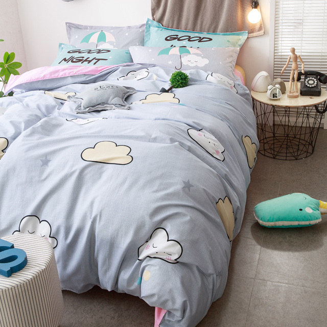 Brief Grey Bedding Set 100% Cotton Duvet Cover Bed Sheet Pillow Case Cute  Cartoon Print