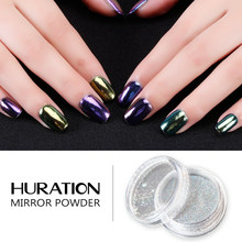 Hutation Glitter Pigmen Hologram Chrome Kuku Bubuk Cukup Gel Cat Kuku dengan Payet Laser Dekorasi Nail Art Gel Varnish(China)