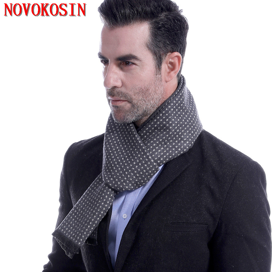 LS2 2018 Velour Warm Winter Designer White Square Fashion Men Thick Shawl Long Grey Male Ring Business Scarf