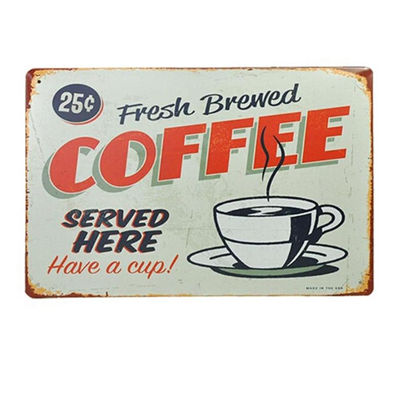 Nagykereskedelmi HOT! Van egy csésze kávé Retro fémfestés film - Lakberendezés