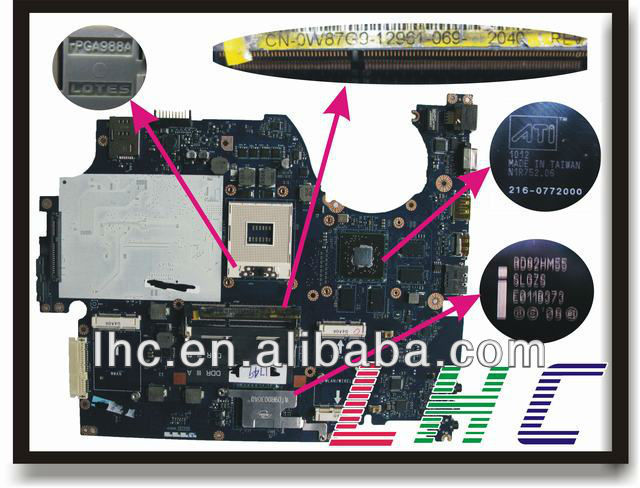 0W87G9 motherboard for dell studio 1749 motherboard non-integrate PM and gurrantee