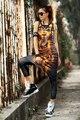 Verão Terno Trecho Ouro Hip Hop Roupas Mulheres COOREENA Cara Engraçada Dos Desenhos Animados Novidade Mulheres Vest Tamanho Livre #606