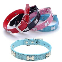 PU Leather Dog Collar Durable Padded Personalized Pet  Collars Supplies for Small Medium Large Dogs Cat Blue Black White