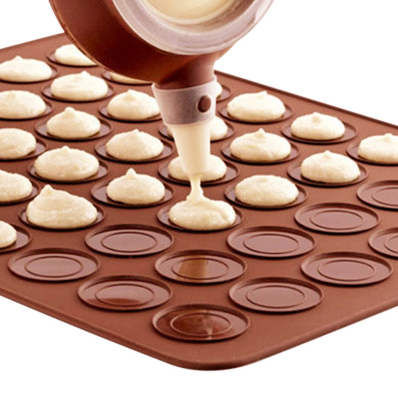 Practical 30-cavity Silicone Pastry Cake Macaron shape mould Oven Baking pastry Mould Sheet Mat
