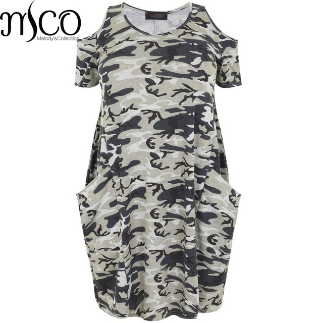MCO Sexy Off Shoulder Camo Print Plus Size Tunic T-shirt Dress Casual Slim  Fit Dresses Big Camouflage Women Clothing 6XL 5XL 55e2caea7d40