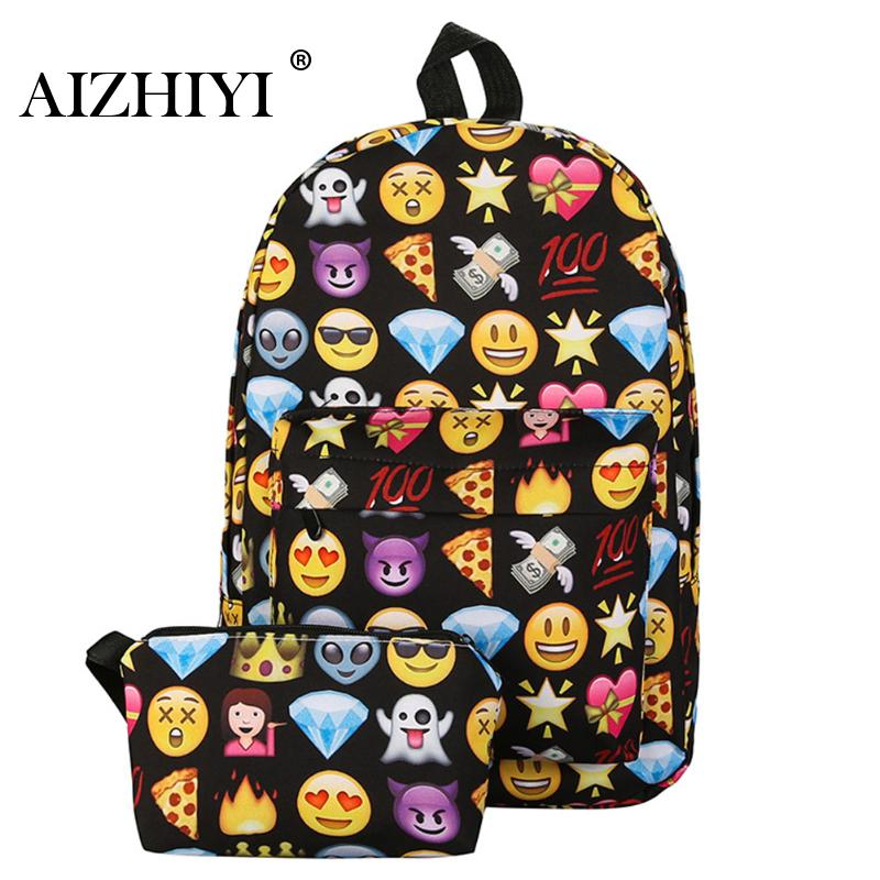 2pcs Emoji Backpack 3d Cute Smile Printing Backpack Waterproof Nylon Backpacks For Teenage Girls Travel School Bag Bolsa Mochila