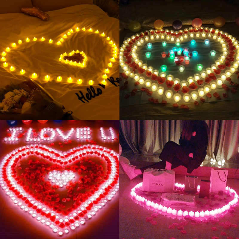 Hot 1 Pcs Romantic Express Love Home Decor Flameless Candles Amber Decorative Led Electronic Candle Light/Yellow Led Tea Lights
