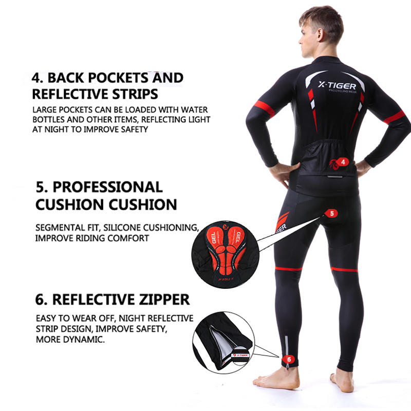 X TIGER Winter Thermal Fleece Men's Pro Cycling Jersey Set Bicycle Suit Long Sleeves Outdoor Sportswear Climbing Riding Clothing-in Cycling Sets from Sports & Entertainment    3