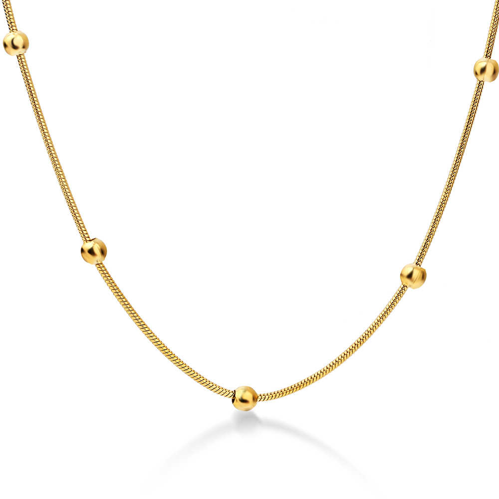NIBA 316L Stainless Steel Gold-color Round Ball Pendant Necklace Link Chain Necklace Fashion Jewelry For Women or Men
