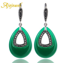 Ajojewel Silver Plated CZ Green Resin Big Stone Water Drop Earrings For Women Vintage Jewelry 2017 New Arrival