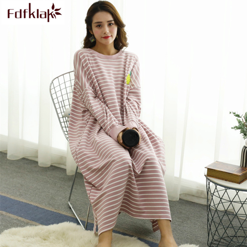 Fdfklak Large Size Women Night Dress Long Sleeve Nightshirt Cotton Blend Home Clothes Spring Autumn Nightgowns Loose Nightdress