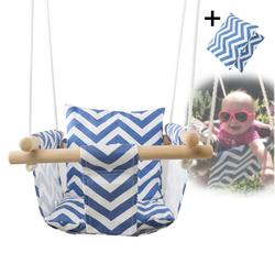 outdoor toy children Kindergarten Baby Canvas Swing Hanging Chair Wooden Indoor Small Swinging Basket Rocking Chair With Cushion