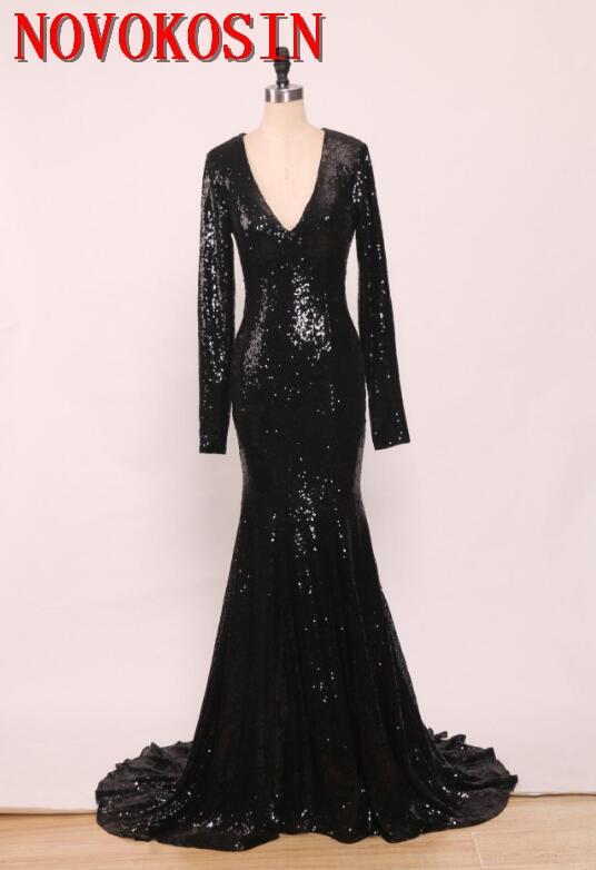 2019 Sexy noir paillettes sirène robes de soirée profonde col en V à manches longues robes de bal Court Train formel robe de soirée