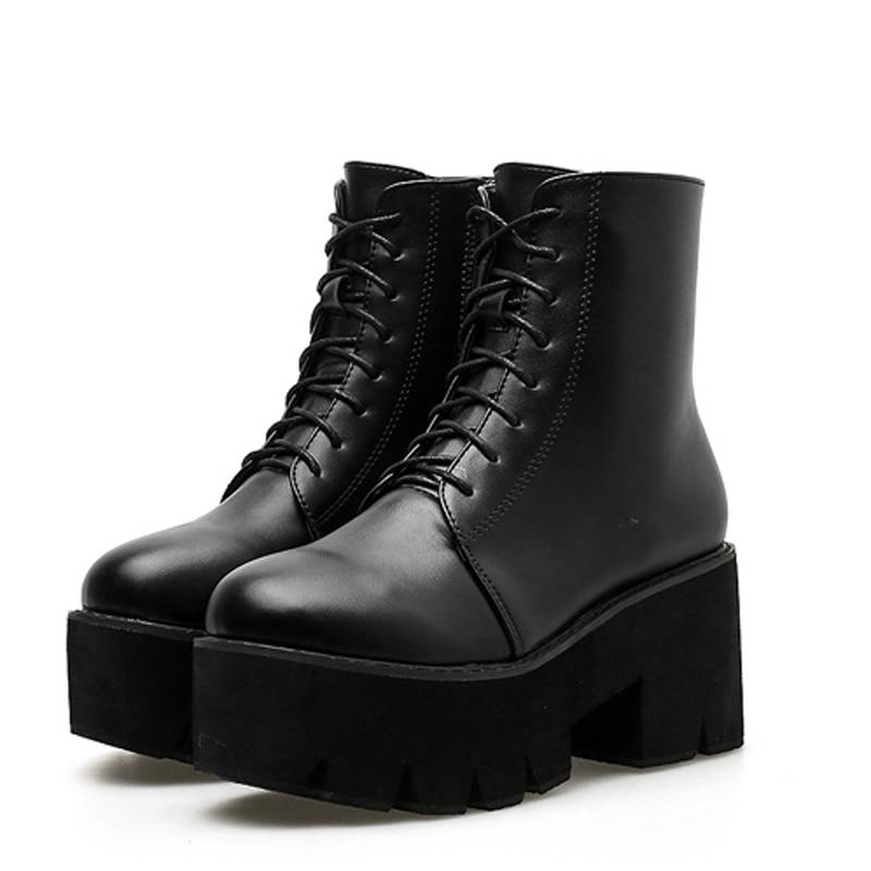 Las Alto De Grueso Gbhhynlh Mujeres Cuero Botas Negro Tacón Lja453 Plataforma Invierno Otoño Tacones tqqFrBwvX
