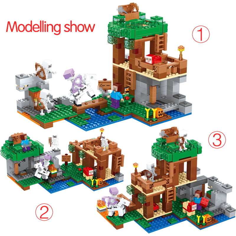 Toys & Hobbies Blocks Alert 406pcs 6 In 1 Farm Cottage Village Building Blocks Compatible Legoing Minecrafted Defend Homes Figures Educational Toy For Child