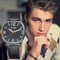 2016 men square reloj de cuarzo correa de cuero relojes eyki reloj redondo del reloj militar hombres de negocios simple ocasional montre femme