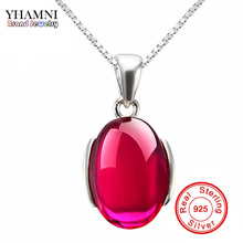 Sent Certificate! Luxury 5 Carat Red Crystal Pendant Necklace 925 Solid Sterling Silver Jewelry Necklace for Women  RN116