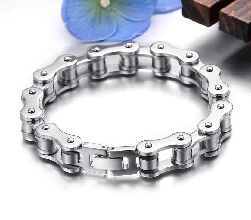 Punk 316L Stainless Steel Bracelet Men Biker Bicycle Motorcycle Chain Men's Bracelets Mens Bracelets & Bangles Fashion Jewelry trustylan shiny glossy 316l stainless steel mens bracelets 2018 20mm wide chain bracelets jewellery accessory man bracelet