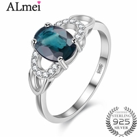 Almei Women 1ct Sapphire Birthstone Stackable Engagement Rings Genuine 925 Sterling Silver Fine Jewelry Costume with Box CJ040