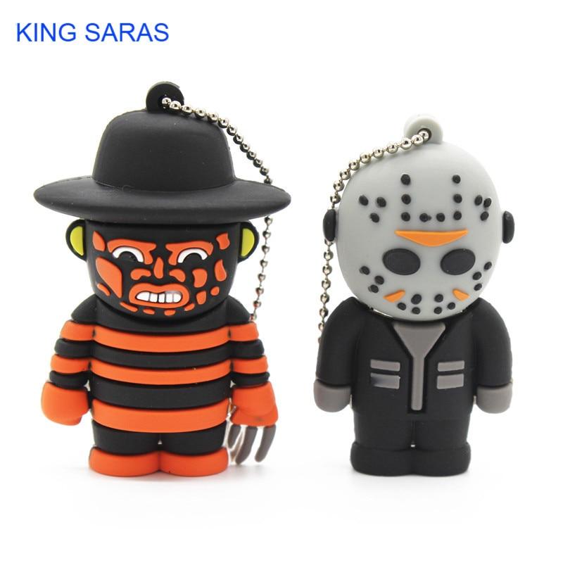KING SARAS 100% Real Capacity Terror Cartoon Freddy Jason Ghost King Friday 13th New Beetle Flash Drive Usb 2.0 4GB 8GB 16GB 32G