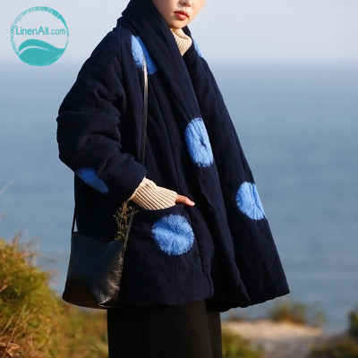 LinenAll women's blue original design vintage national trend winter thickening cotton-padded jacket female cardigan parkas muyi [aigyptos lz]winter novelty personality vintage exotic fluid ultra long national trend plus velvet wadded jacket cotton padded