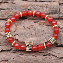Trendy Couple Natural Stone Pave CZ Imperial Crown And Micro-inlaid zircon Charm Bracelet For Men Or Women Bracelet Jewelry new design stone bracelet men women popular stone bracelet skull micro pave cz beads skull male bracelet crown zircon bracelets