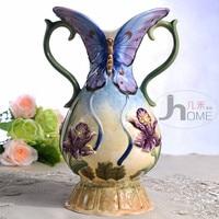 ceramic creative blue butterfly flowers vase pot home decor crafts room wedding decorations handicraft porcelain figurines