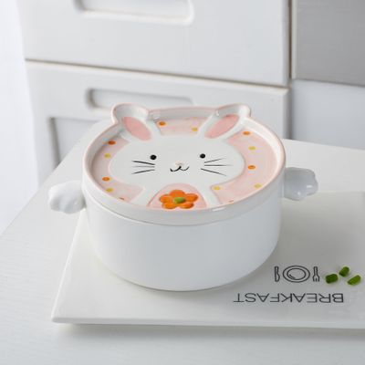 Bowls cute rabbit instant noodles bowl with cover Cartoon double ear ceramic soup bowl Creative Japanese style tableware HJ69.3