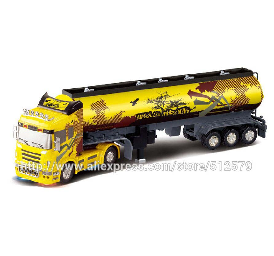 Remote Control Big Size Detachable 1:32 6CH R/C container gas truck with lights and sounds free shipping  remote control 1 32 detachable rc trailer truck toy with light and sounds car