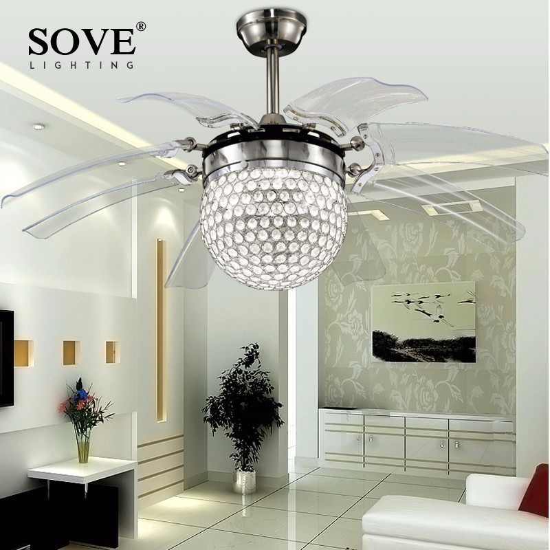Sove Modern Led Ceiling Fans With Lights Dining Room Bedroom Crystal Ceiling  Light Fan Lamp Remote